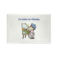 I'd rather be painting Rectangle Magnet (100 pack)