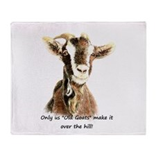 Over the Hill Old Goat Humor Quote Throw Blanket