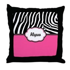 Zebra Print Pink Personalized Throw Pillow