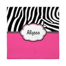 Zebra Print Pink Personalized Queen Duvet