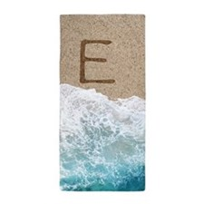 LETTERS IN SAND E Beach Towel
