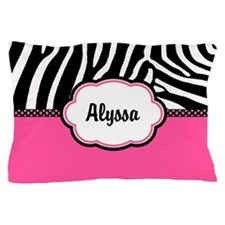 Zebra Print Pink Personalized Pillow Case
