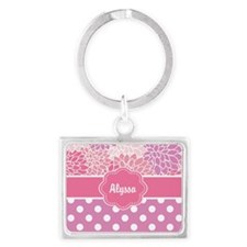 Pink Purple Blooms Personalized Keychains