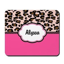 Leopard Print Pink Personalized Mousepad
