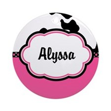 Cow Print Pink Personalized Ornament (Round)