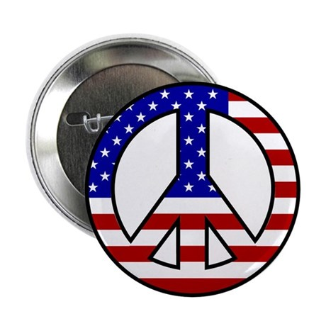 U.S Flag Peace Sign Buttons (10 pack)