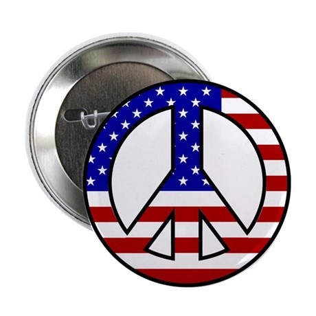 U.S Flag Peace Sign Button