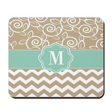 Beige Blue Chevron Monogram Mousepad