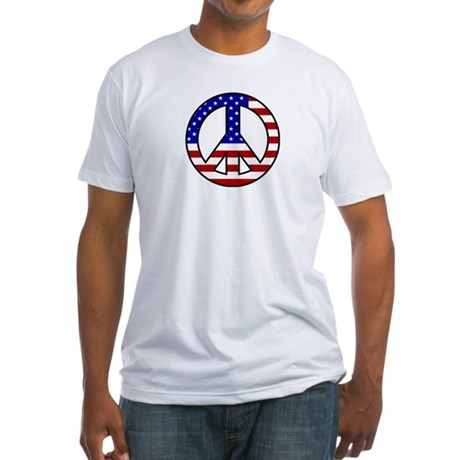 U.S. Flag Peace Sign Fitted T-Shirt
