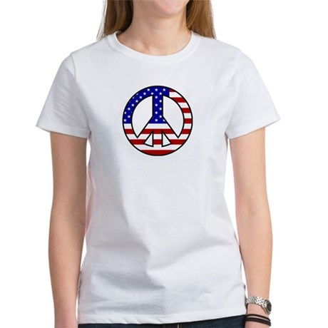 U.S. Flag Peace Sign Womens T-Shirt