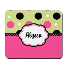 Pink Green Dots Personalized Mousepad