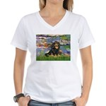 Lilies (2) & Cavalier (BT) Women's V-Neck T-Shirt