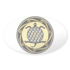 MIMBRES SWIMMING TURTLE BOWL DESIGN Oval Decal