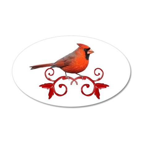 Beautiful Cardinal 20x12 Oval Wall Decal