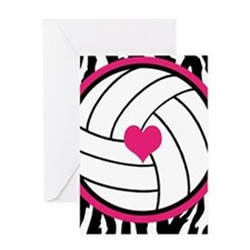 Volleyball -zebra print Greeting Cards