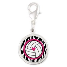 Volleyball -zebra print Charms
