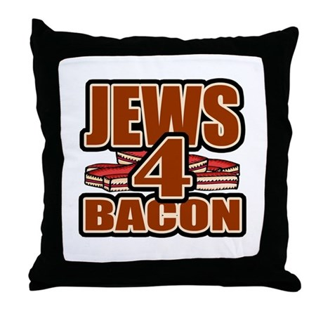 Jews For Bacon Throw Pillow