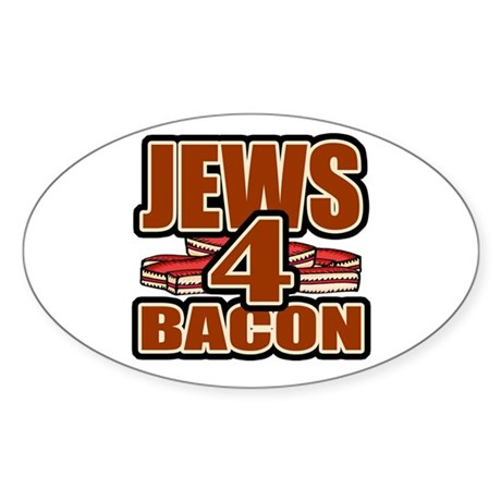 Jews For Bacon Oval Sticker