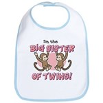 Big Sister of twins (Monkey) Bib