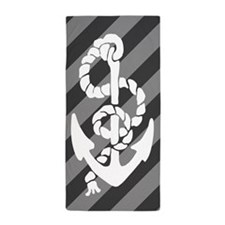 Grey Striped Anchor Beach Towel