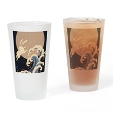 FULL MOON, WAVE, RABBITS Drinking Glass
