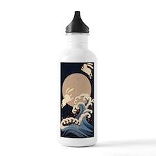 FULL MOON, WAVE, RABBITS Water Bottle