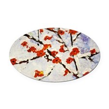 Plum blossom in snow Oval Car Magnet