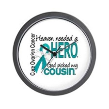 Ovarian Cancer Heaven Needed Hero 1.1 Wall Clock