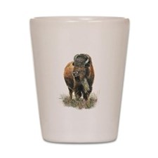 Watercolor Buffalo Bison Animal Art Shot Glass