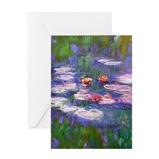 Claude Monet, pink and red waterlily Greeting Card