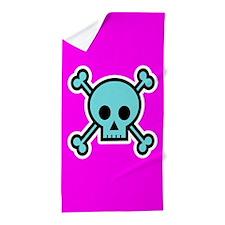 Blue and Pink Skull Crossbones Beach Towel
