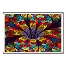 Fractal Stained Glass Bloom Banner