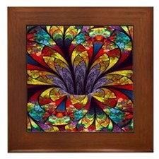 Fractal Stained Glass Bloom Framed Tile