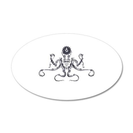 Steampunk Silver Octopus Wall Sticker