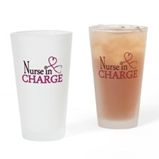 Nurse in Charge - Pink Drinking Glass