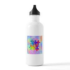 Autism Colorful Puzzle Pieces Water Bottle