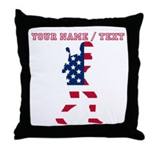 Custom Baseball Batter American Flag Throw Pillow
