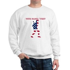 Custom Baseball Batter American Flag Sweatshirt