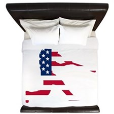 Baseball Batter American Flag King Duvet