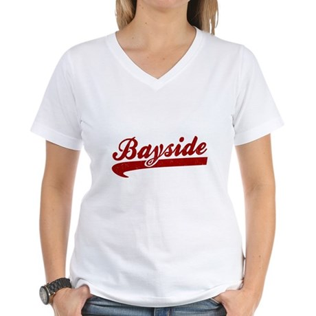 Bayside Tigers (Distressed) Womens V-Neck T-Shirt