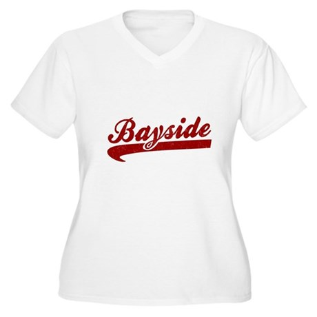 Bayside Tigers (Distressed) Womens Plus Size V-Ne