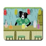 Border Collie Bamboo Tiki Bar Mousepad