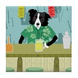 Border Collie Bamboo Tiki Bar Tile Coaster