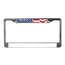 American Flag Waving distresse License Plate Frame