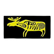 Yellow Tribal Moose Beach Towel