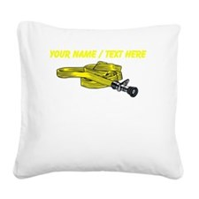 Custom Yellow Fire Hose Square Canvas Pillow