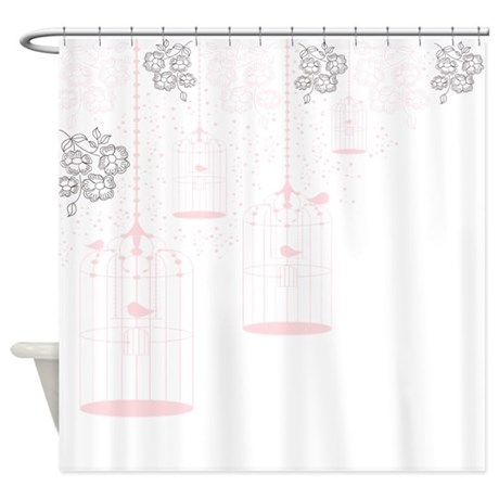 Pink Vintage Bird Cages Shower Curtain