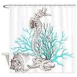 Ocean Gems Seahorse In Teal Shower Curtain