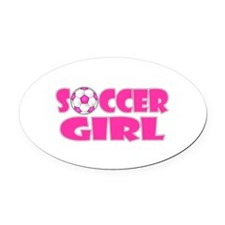 Soccer Girl Pink Oval Car Magnet