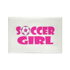 Soccer Girl Pink Rectangle Magnet